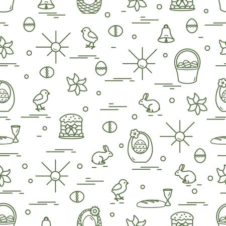 Cute Seamless Pattern With Different Symbols For Easter Design