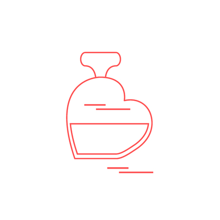 Cute vector illustration of perfume bottle in the shape of heart. Design for banner, flyer, poster or print. Greeting card Valentine�s Day.
