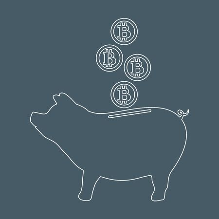 Bank Design Leer.Stylized Icon Of A Piggy Bank With Bitcoins Design For Banner