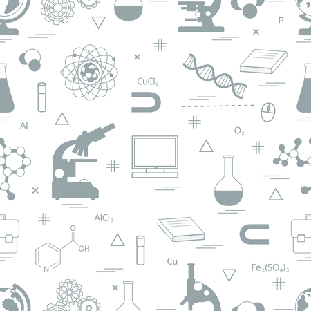 laboratory equipment: Seamless pattern with variety scientific, education elements: globe, microscope,magnet, flask, molecule and other. Design for banner, flyer, poster or print.