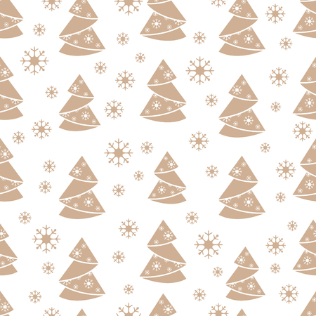folded paper: Winter seamless pattern with Christmas tree in origami form and snowflakes. Design for postcard, banner, flyer, poster or print.