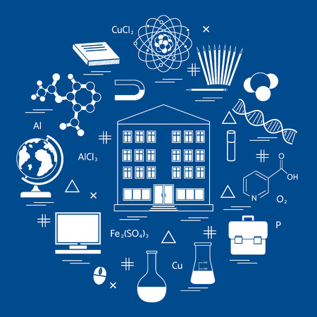 Vector illustration of variety scientific, education elements in a circle.molecule and other.