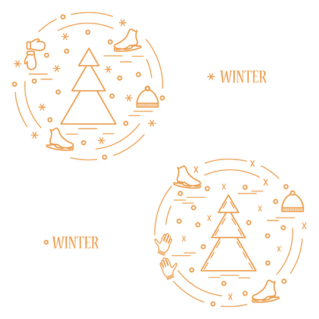 Vector illustration for sports figure skating arranged in a circle. Including icons of skates, gloves, hat, spruce. Winter elements made in line style. Illustration