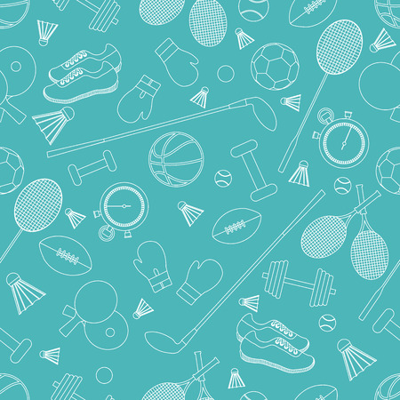 Seamless pattern on the sports theme. Vector illustration sports and fitness equipment. Series of Sporting Patterns. Illustration