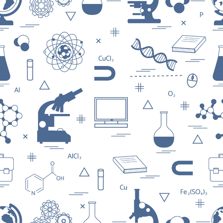 microscopy: Seamless pattern with variety scientific, education elements: globe, microscope,magnet, flask, molecule and other. Design for banner, flyer, poster or print.