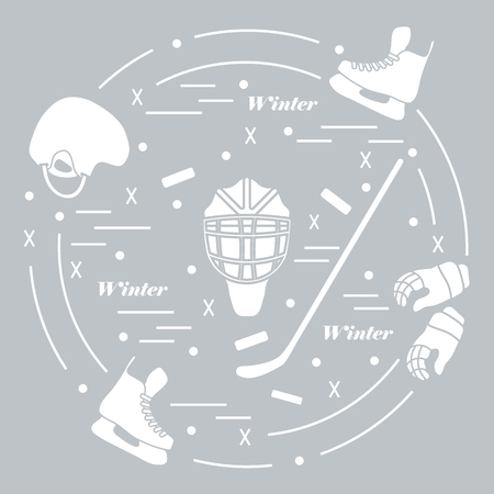 bandy: Vector illustration of various subjects for hockey arranged in a circle. Including icons of helmet, gloves, skates, goalkeeper mask, stick, puck. Illustration