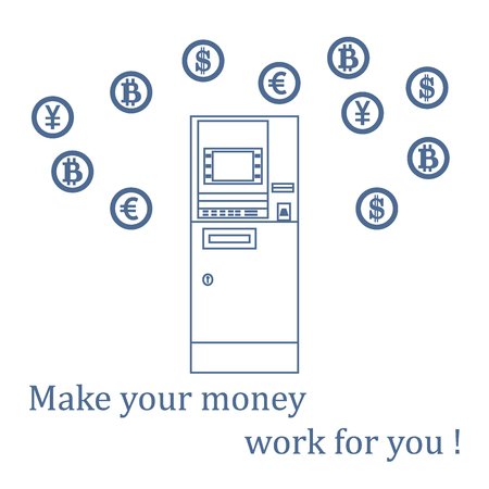 Stylized icon of a colored automatic teller machine or ATM and different types of currency and Bitcoins. Design for banner, poster or print.