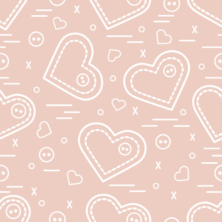 workmanship: Cute seamless pattern with needle cases and buttons. Greeting card Valentine's Day. Design for banner, flyer, poster or print. Illustration
