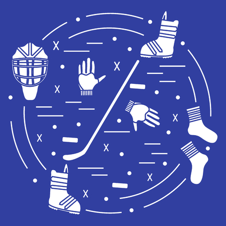 Vector illustration of various subjects for hockey and snowboarding arranged in a circle. Illustration