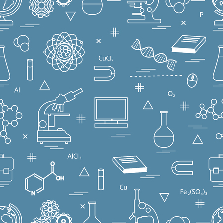 microscopy: Seamless pattern with variety scientific, education elements: globe, microscope,magnet, flask, molecule and other.