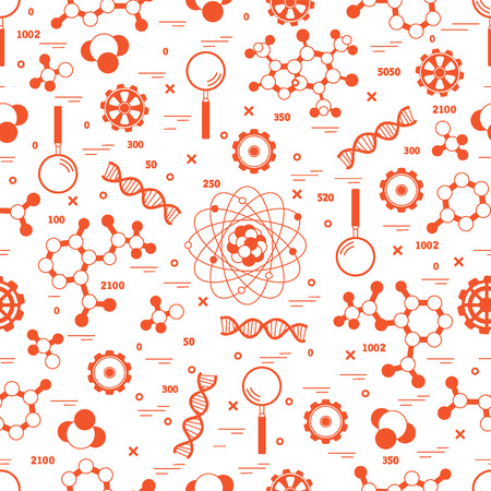 Seamless Pattern with variety scientific, education elements. Design for banner, poster or print. Illustration