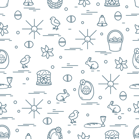 raisin: Cute seamless pattern with different symbols for Easter. Design for banner, poster or print.