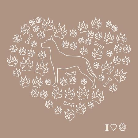 Belle image d'une silhouette de danse formidable sur un fond de pistes de chien et d'os en forme de coeur sur fond coloré. Banque d'images - 75939962