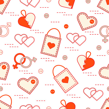 Cute seamless pattern with variety romantic elements. Greeting card Valentines Day. Design for banner, flyer, poster or print.