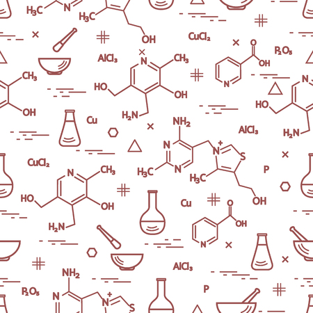 pounder: Seamless Pattern with variety scientific, education elements: flask, formula, pestle and other. Design for banner, poster or print.