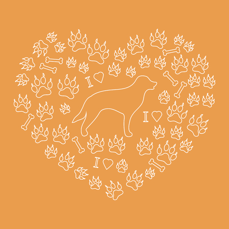 cute dog: Nice picture of retriever silhouette on a background of dog tracks and bones in the form of heart on a colored background. Illustration