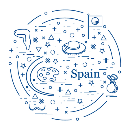 dali: Vector illustration with various symbols of Spain arranged in a circle. Travel and leisure. Illustration