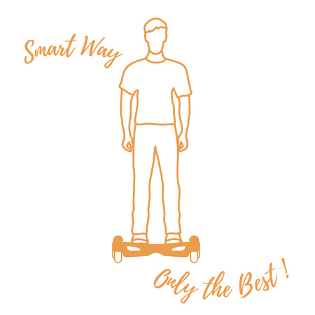 Stylized icon of modern young man standing on gyroscooter. Design for banner, poster or print.