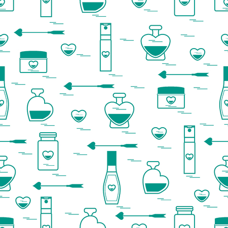 textile care: Cool  seamless pattern with various accessories for the care of your body and hair: perfume bottles, cream, hair spray and other. Design element for postcard, banner, flyer, poster or print. Illustration