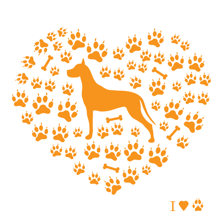Nice picture of great dane silhouette on a background of dog tracks and bones in the form of heart on a white background. Illustration