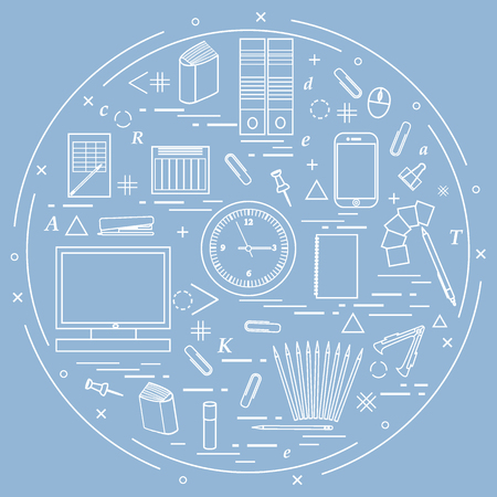 Set of different office objects arranged in a circle. Including icons of paper clips, buttons, pencils, glue, monitor, clock and other on blue background.