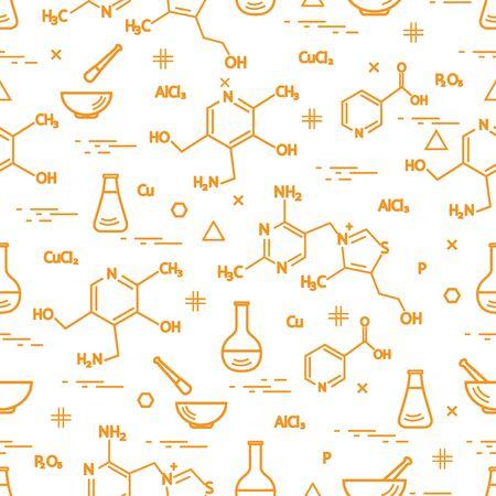 Jaune Motif sans couture avec variété scientifique, éléments d'éducation: flacon, formule, pilon et autres. Conception pour la bannière, l'affiche ou l'impression.