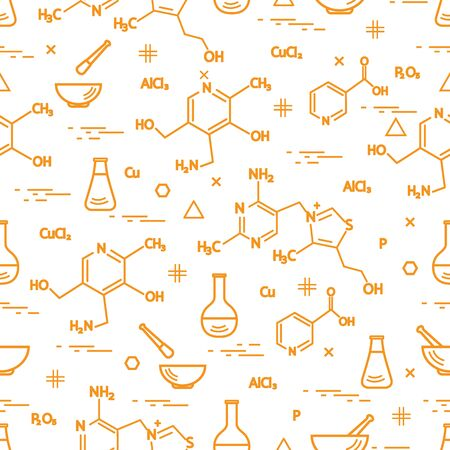 Yellow Seamless pattern with variety scientific, education elements: flask, formula, pestle and other. Design for banner, poster or print.