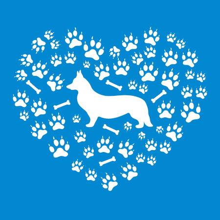 Nice picture of Welsh Corgi Pembroke silhouette on a background of dog tracks and bones in the form of heart on a bright blue background.