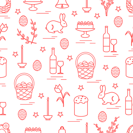 Cute seamless pattern with different symbols for Easter. Design for banner, poster or print on red.