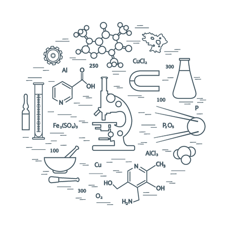 laboratory equipment: Stylized vector icon of variety scientific, education elements: microscope, flask, formula, pestle and other. Design for banner, poster or print.