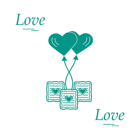 glaze: Cute vector illustration of love symbols: heart air balloon icon and three cookies. Romantic collection. Design for banner, flyer, poster or print.