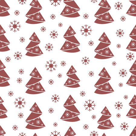 conifer: Winter seamless pattern with Christmas tree in origami form and snowflakes. Design for postcard, banner, flyer, poster or print.