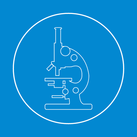 laboratory equipment: Stylized vector icon of microscope. Magnifying device sign. Laboratory equipment symbol.