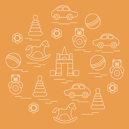 Artistic kids elements arranged in a circle: car, pyramid, roly-poly, ball, cubes, rocking horse, rattle. Design element for postcard, banner, flyer, poster or print.