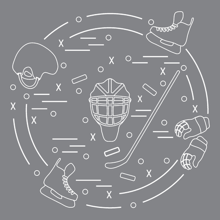 bandy: Artistic hockey arranged in a circle. Including icons of helmet, gloves, skates, goalkeeper mask, stick, puck. Winter elements made in line style.