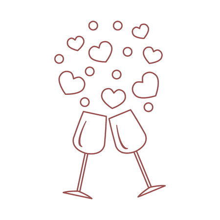Creative vector illustration of two stemware with hearts. Design for banner, flyer, poster or print. Greeting card Valentines Day.