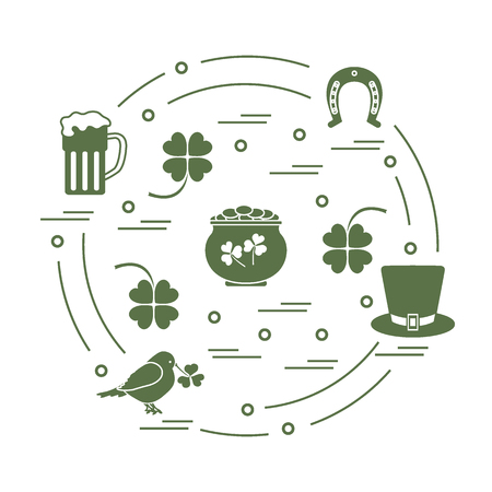 st  patrick's day: Creative  illustration with different symbols for St. Patricks Day arranged in a circle. Design for banner, poster or print. Illustration
