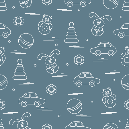 Creative  Vector pattern of different toys: car, pyramid, roly-poly, ball, hare, rattle. Design element for postcard, banner, flyer, poster or print. Ilustração