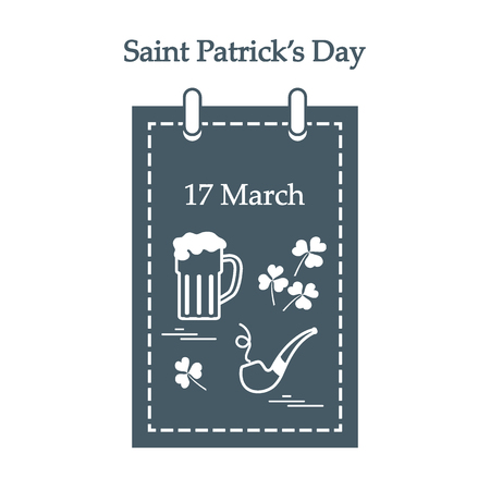st  patrick's day: Cute vector illustration: calendar with a beer, clover, tobacco pipe for St. Patricks Day. Design for banner, poster or print.