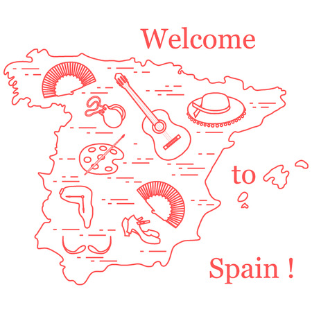 dali: Vector illustration with various symbols of Spain arranged in a circle. Travel and leisure. Design for banner, poster or print. Illustration