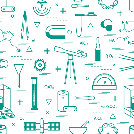 Seamless pattern with variety scientific, education elements: dividers, formula, test-tube, satellites, batteries and other. 向量圖像