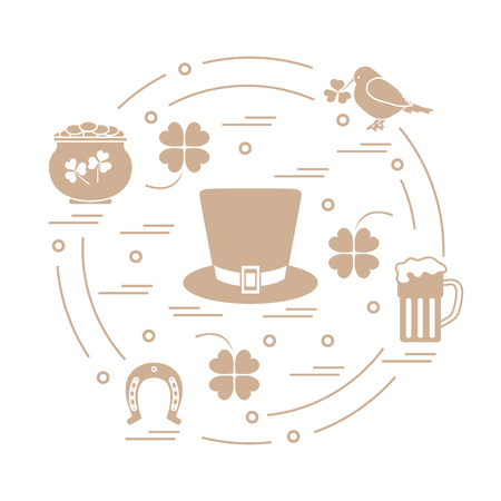 Cute vector illustration with different symbols for St. Patricks Day arranged in a circle.