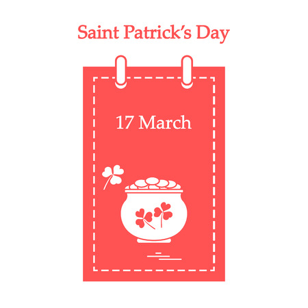 st  patrick's day: Cute vector illustration: calendar with a pot full of gold coins and clover for St. Patricks Day. . Illustration