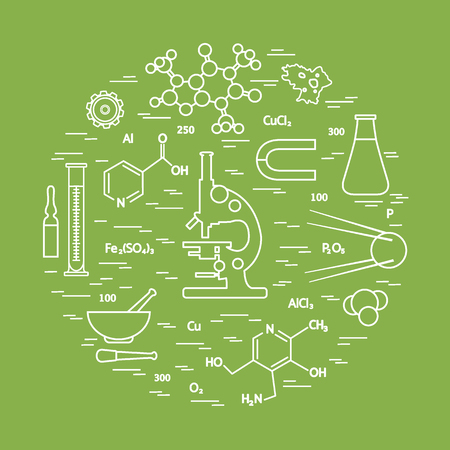 Stylized vector icon of variety scientific, education elements: microscope, flask, formula, pestle and other.