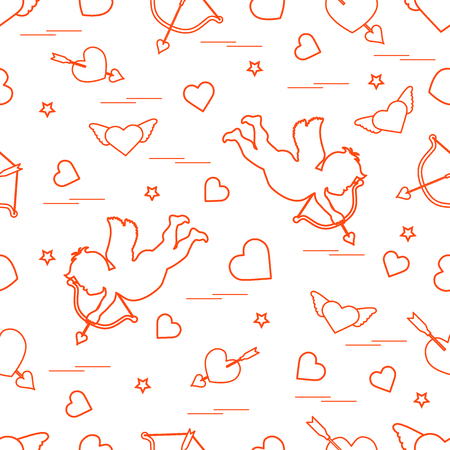 Cute seamless pattern with cupid shoots a bow and hearts. Love symbol. Illustration