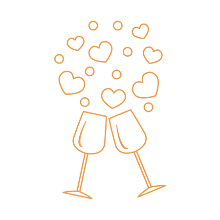 Cute vector illustration of two stemware with hearts.