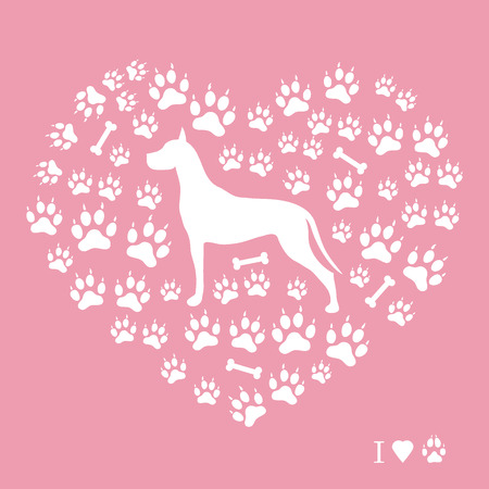 dog walking: Nice picture of great dane silhouette on a background of dog tracks and bones in the form of heart on a colored background. Illustration