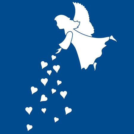 textiles: Cute vector illustration: angel showered hearts. Love symbol. Design for banner, flyer, poster or print.