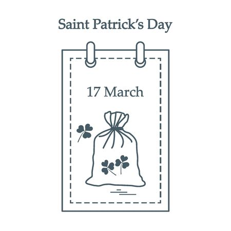 lucky clover: Cute vector illustration: calendar with a bag full of gold coins and clover for St. Patricks Day. Design for banner, poster or print.