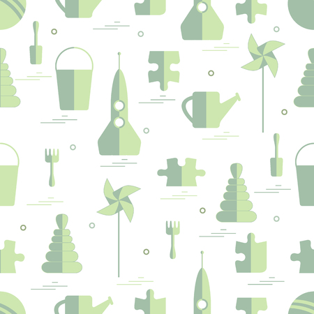 textiles: Vector pattern of different kids toys objects: rocket, puzzle, bucket, scoop, rake, watering can, pinwheel, pyramid, ball. Design element for postcard, banner, flyer, invitations, textiles or print.